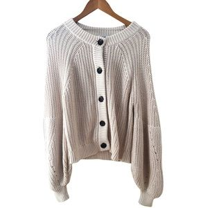 525 Oversized soft knit cream cardigan sweater button down top sweater